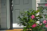 Grey Front Door with Flowers