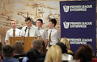 Pictured: Ysgol Maesteg School presentation Wednesday 25 November 2015<br /> Re: Schools take part in this year's Premier League Enterprise vent at Penderyn Suite, Liberty Stadium, Swansea, UK
