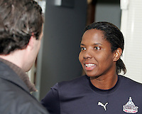 Briana Scurry during Washington Freedom  practice and media event at the Maryland Soccerplex on March 25 in Boyd's, Maryland.
