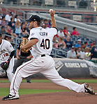 Reno Aces starting pitcher Bryan Henry throws against the Albuquerque Isotopes during their game played on Saturday night, August 11, 2012 in Reno, Nevada.