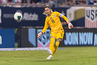 CHARLOTTE, NC - OCTOBER 3: Ashlyn Harris #18 of the United States passes during a game between Korea Republic and USWNT at Bank of America Stadium on October 3, 2019 in Charlotte, North Carolina.