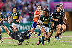 Amanaki Nicole of New Zealand (L) tris to tackle Stedman Gans of South Africa (C) during the HSBC Hong Kong Sevens 2018 Bronze Medal Final match between South Africa and New Zealand on 08 April 2018 in Hong Kong, Hong Kong. Photo by Marcio Rodrigo Machado / Power Sport Images