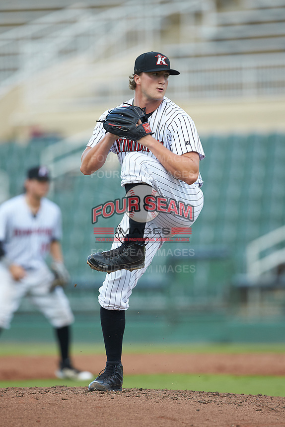 Kannapolis Intimidators relief pitcher William Kincanon (29) in action against the West Virginia Power at Kannapolis Intimidators Stadium on July 25, 2018 in Kannapolis, North Carolina. The Intimidators defeated the Power 6-2 in 8 innings in game one of a double-header. (Brian Westerholt/Four Seam Images)