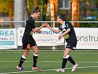 Anke Vanhooren (7) of Eendracht Aalst congratulates Justine Blave (22) of Eendracht Aalst for her goal during a female soccer game between  Racing Genk Ladies and Eendracht Aalst on the 5 th matchday of play off 2 in the 2020 - 2021 season of Belgian Scooore Womens Super League , friday 7 th of May 2021  in Genk , Belgium . PHOTO SPORTPIX.BE | SPP | JILL DELSAUX