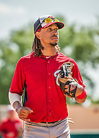 21 March 2015: Washington infielder Emmanuel Burriss trots back to the dugout during a Spring Training Split Squad game against the Atlanta Braves at Champion Stadium at the ESPN Wide World of Sports Complex in Kissimmee, Florida. The Braves defeated the Nationals 5-2 in Grapefruit League play. Mandatory Credit: Ed Wolfstein Photo *** RAW (NEF) Image File Available ***