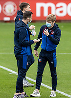 Bolton Wanderers' Ronan Darcy (right) chats to Gethin Jones before the match<br /> <br /> Photographer Andrew Kearns/CameraSport<br /> <br /> The EFL Sky Bet League Two - Stevenage v Bolton Wanderers - Saturday 21st November 2020 - Lamex Stadium - Stevenage<br /> <br /> World Copyright © 2020 CameraSport. All rights reserved. 43 Linden Ave. Countesthorpe. Leicester. England. LE8 5PG - Tel: +44 (0) 116 277 4147 - admin@camerasport.com - www.camerasport.com