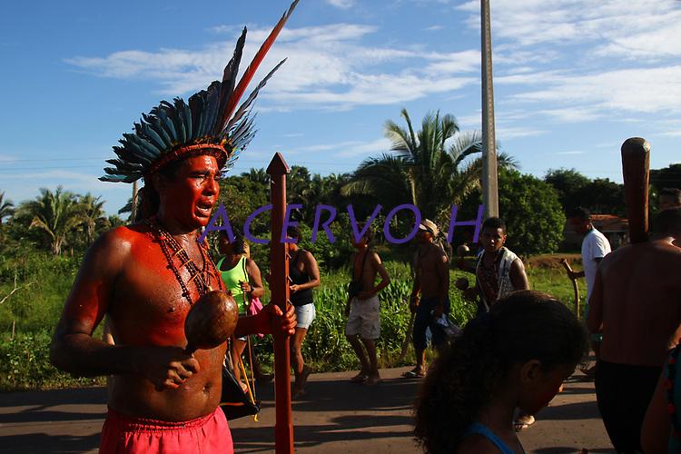 Índios Gamela em protesto que interditou a MA-014 pela demarcação de seu território, contra a reforma trabalhista e da previdência.<br /> Maranhão, Brasil.<br /> Foto Igor Monteiro<br /> 28 de abril.
