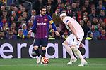 UEFA Champions League 2018/2019.<br /> Quarter-finals 2nd leg.<br /> FC Barcelona vs Manchester United: 3-0.<br /> Lionel Messi vs Phil Jones.