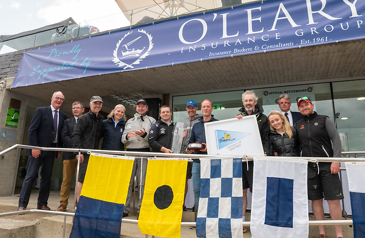 Mike and Ritchie Evans's 'Snapshot' from Howth is the winner of the Sovereigns Cup 2021 at the Kinsale Yacht Club, sponsored by O'Leary Insurance Group. Pictured are the crew with Anthony O'Leary, O'Leary Insurance Group; Mike Walsh, Commodore Kinsale Yacht Club and Regatta director Anthony O'Neill.