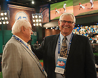 Los Angeles Dodgers Representative, Hall of Famer Tommy Lasorda and Washington Nationals  Representative Bob Boone during the MLB Draft on Thursday June 05,2014 at Studio 42 in Secaucus, NJ.   (Tomasso DeRosa/ Four Seam Images)