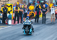 Jul 19, 2019; Morrison, CO, USA; NHRA pro stock motorcycle rider Jianna Salinas during qualifying for the Mile High Nationals at Bandimere Speedway. Mandatory Credit: Mark J. Rebilas-USA TODAY Sports
