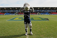 20130310 Copyright onEdition 2013©.Free for editorial use image, please credit: onEdition..Sharkie, the Sale Sharks mascot, looks confident before the LV= Cup semi final match between Sale Sharks and Saracens at the Salford City Stadium on Sunday 10th March 2013 (Photo by Rob Munro)..For press contacts contact: Sam Feasey at brandRapport on M: +44 (0)7717 757114 E: SFeasey@brand-rapport.com..If you require a higher resolution image or you have any other onEdition photographic enquiries, please contact onEdition on 0845 900 2 900 or email info@onEdition.com.This image is copyright onEdition 2013©..This image has been supplied by onEdition and must be credited onEdition. The author is asserting his full Moral rights in relation to the publication of this image. Rights for onward transmission of any image or file is not granted or implied. Changing or deleting Copyright information is illegal as specified in the Copyright, Design and Patents Act 1988. If you are in any way unsure of your right to publish this image please contact onEdition on 0845 900 2 900 or email info@onEdition.com