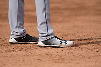Cleveland Indians third baseman Nolan Jones's Under Armour cleats during a Minor League Spring Training game against the Chicago White Sox at Camelback Ranch on March 16, 2018 in Glendale, Arizona. (Zachary Lucy/Four Seam Images)