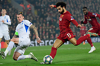 LIVERPOOL, GREAT BRITAN - NOVEMBER 5 :  Mohamed Salah forward of Liverpool battles for the ball with Sebastien Dewaest defender of Genk during the UEFA Champions League match between Liverpool FC and KRC Genk on November 05, 2019 in Liverpool, Great Britan, 5/11/2019 <br /> Liverpool 5-11-2019 Anfield <br /> Liverpool - Genk <br /> Champions League 2019/2020<br /> Foto Photonews / Panoramic / Insidefoto <br /> Italy Only