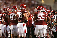 Arkansas head coach Sam Pittman talks to his players, Saturday, September 11, 2021 during the third quarter of a football game at Reynolds Razorback Stadium in Fayetteville. Check out nwaonline.com/210912Daily/ for today's photo gallery. <br /> (NWA Democrat-Gazette/Charlie Kaijo)