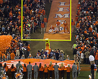 The eighth ranked Clemson Tigers defeat the Georgia Tech Yellow Jackets at Death Valley 55-31 in an ACC matchup.  The Clemson Tigers prepare to enter the field.