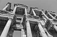 Looking up at the ruins of the famous library in Ephesus, Turkey