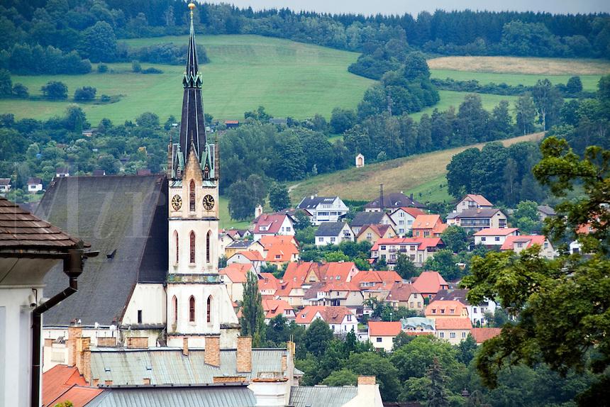 Aerial architecture of Cesky Krumlov, Czech Republic