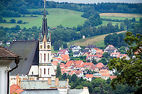 Aerial architecture of Cesky Krumlov, Czech Republic