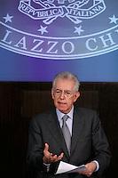 Il Presidente del Consiglio Mario Monti tiene la conferenza stampa di fine anno a Roma, 29 dicembre 2011..Italian Premier Mario Monti attends the year-end press conference in Rome, 29 december 2011..UPDATE IMAGES PRESS/Riccardo De Luca