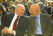 Director of the Central Intelligence Agency (CIA) John Brennan, left, speaks with James Clapper, Director of National Intelligence, right, prior to the President's remarks on signals intelligence programs and how they can be used to protect national security while supporting foreign policy and respecting privacy and civil liberties, at the Department of Justice in Washington DC, on January 17, 2014.<br /> Credit: Aude Guerrucci / Pool via CNP