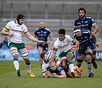 21st March 2021; AJ Bell Stadium, Salford, Lancashire, England; English Premiership Rugby, Sale Sharks versus London Irish; Arron Reed of Sale Sharks is tackled by Ben Loader of London Irish