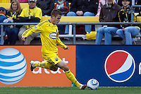 8 MAY 2010:  Robbie Rogers of the Columbus Crew (18) during MLS soccer game between New England Revolution vs Columbus Crew at Crew Stadium in Columbus, Ohio on May 8, 2010. The Columbus defeated New England 3-2.