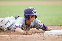 TCU Horned Frogs outfielder Nolan Brown (6) slides head-first into third base against the LSU Tigers in the NCAA College World Series on June 14, 2015 at TD Ameritrade Park in Omaha, Nebraska. TCU defeated LSU 10-3. (Andrew Woolley/Four Seam Images)