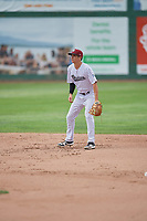 Brady McConnell (15) of the Idaho Falls Chukars during the game against the Orem Owlz at Melaleuca Field on July 14, 2019 in Idaho Falls, Idaho. The Owlz defeated the Chukars 6-2. (Stephen Smith/Four Seam Images)
