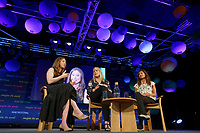 Pictured: (L-R) Chelsea Clinton, Gabrielle Walker and Devi Sridhar.<br /> Re: Hay Festival at Hay on Wye, Powys, Wales, UK. Saturday 02 June 2018