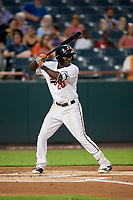 Bowie Baysox center fielder Anderson Feliz (20) at bat during the second game of a doubleheader against the Trenton Thunder on June 13, 2018 at Prince George's Stadium in Bowie, Maryland.  Bowie defeated Trenton 10-1.  (Mike Janes/Four Seam Images)