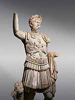 Roman statue of Emperor Trajan . Marble. Perge. 2nd century AD. Inv no . Antalya Archaeology Museum; Turkey.
