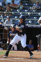 Durham Bulls outfielder Jeff Salazar #34 at bat during a game against the Louisville Bats at Durham Bulls Athletic Park on May 2, 2012 in Durham, North Carolina. Durham defeated Louisville by the score of 7-5. (Robert Gurganus/Four Seam Images)