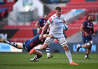 23rd April 2021; Ashton Gate Stadium, Bristol, England; Premiership Rugby Union, Bristol Bears versus Exeter Chiefs; Jacques Vermeulen of Exeter Chiefs is tackled by Luke Morahan of Bristol Bears
