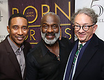 """Charles Randolph-Wright, BeBe Winans and William Ivey Long backstage after a Song preview performance of the Bebe Winans Broadway Bound Musical """"Born For This"""" at Feinstein's 54 Below on November 5, 2018 in New York City."""
