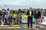 Erven Leon Mayor of Perros-Guirec and S.A.S. Albert II of Monaco ready to start Stage 2 of the 2021 Tour de France, running 183.5km from Perros-Guirec to Mur-de-Bretagne Guerledan, France. 27th June 2021.  <br /> Picture: A.S.O./Charly Lopez   Cyclefile<br /> <br /> All photos usage must carry mandatory copyright credit (© Cyclefile   A.S.O./Charly Lopez)