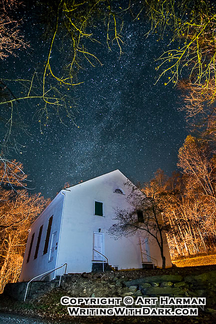 """""""Milky Way Mountain Church"""" by Art Harman. A small church in the Virginia mountains at midnight, as the stars shone from the heavens."""