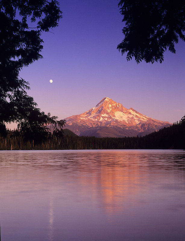 Lost Lake and Mt. Hood with moonrise. Oregon.