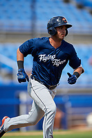 Lakeland Flying Tigers second baseman Anthony Pereira (9) runs to first base during a game against the Dunedin Blue Jays on May 27, 2018 at Dunedin Stadium in Dunedin, Florida.  Lakeland defeated Dunedin 2-1.  (Mike Janes/Four Seam Images)