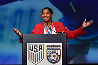 Orlando, FL - Saturday February 10, 2018: Briana Scurry, National Soccer Hall of Fame Induction during U.S. Soccer's Annual General Meeting (AGM) at the Renaissance Orlando at SeaWorld.