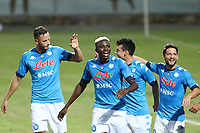 Hirving Lozano of SSC Napoli celebrates with Amir Rrahmani and Victor Osimhen, Dries Mertens after scoring a goal<br /> during the friendly football match between SSC Napoli and L Aquila 1927 at stadio Patini in Castel di Sangro, Italy, August 28, 2020. <br /> Photo Cesare Purini / Insidefoto