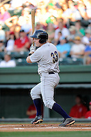First baseman Connor Spencer (33) of the Charleston RiverDogs bats in a game against the Greenville Drive on Saturday, May 23, 2015, at Fluor Field at the West End in Greenville, South Carolina. Charleston won 5-4. (Tom Priddy/Four Seam Images)