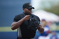 Home plate umpire Tre Jester during the game between the Charleston RiverDogs and the Kannapolis Cannon Ballers at Atrium Health Ballpark on July 1, 2021 in Kannapolis, North Carolina. (Brian Westerholt/Four Seam Images)
