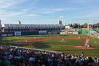 General view of a Lansing Lugnuts game against the Peoria Chiefs as construction is underway in the center field concourse on June 6, 2015 at Cooley Law School Stadium in Lansing, Michigan.  Lansing defeated Peoria 6-2.  (Mike Janes/Four Seam Images)
