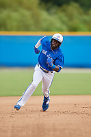 GCL Blue Jays Anthony Alford (43) running the bases during a Gulf Coast League game against the GCL Tigers West on August 3, 2019 at the Englebert Complex in Dunedin, Florida.  GCL Blue Jays defeated the GCL Tigers West 4-3.  (Mike Janes/Four Seam Images)
