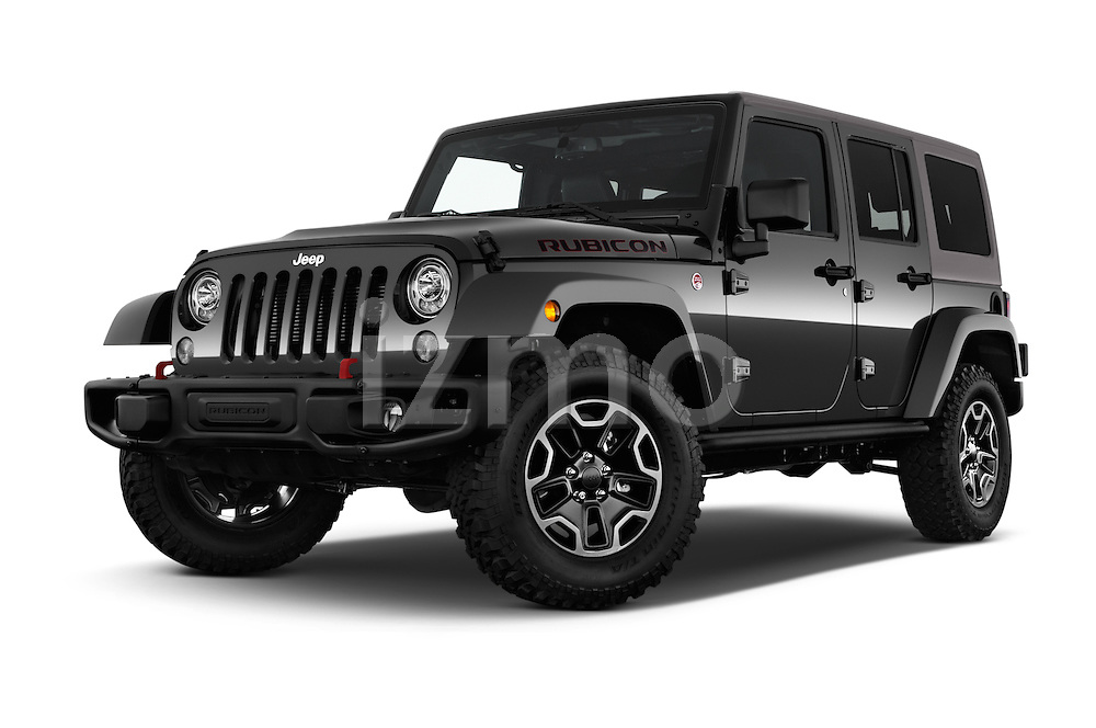 Stock pictures of low aggressive front three quarter view of 2017 JEEP Wrangler-Unlimited Rubicon-Hard-Rock 5 Door SUV Low Aggressive