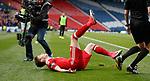 Ryan Christie celebratews his free-kick goal for Aberdeen