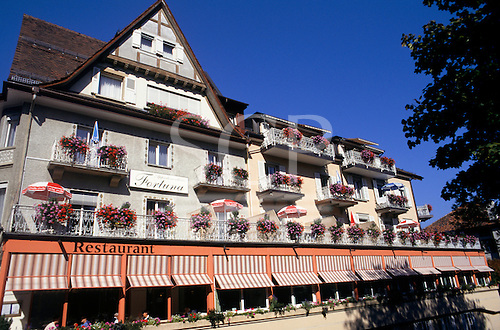 Ragaz, Switzerland. The building of the Fortuna hotel and restaurant.