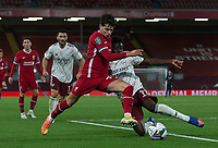 1st October 2020; Anfield, Liverpool, Merseyside, England; English Football League Cup, Carabao Cup, Liverpool versus Arsenal; Bukayo Saka of Arsenal blocks the shot of Neco Williams of Liverpool