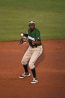 Daytona Tortugas second baseman Carlton Daal (4) checks the runner during a game against the Tampa Yankees on April 24, 2015 at George M. Steinbrenner Field in Tampa, Florida.  Tampa defeated Daytona 12-7.  (Mike Janes/Four Seam Images)